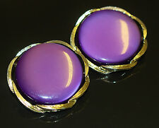 Vintage Earring LISNER Purple Pearlescent Lucite Large Round 1970s GT Ex Con 57