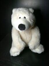 "White plush Polar Bear 12"" Soft sitting Stuffed Animal winter xmas lovey GUC"