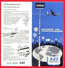 1958 SAS Scandinavian Airlines Timetable Booklet