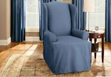 Sure Fit Cotton Duck Wing Chair T-Cushion Slipcover Bluestone blue