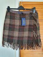 RRP£349 BNWT Polo Ralph Lauren UK10 EU.36 Fringe-Trimmed Plaid Tartan Wool Skirt
