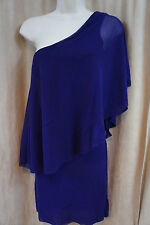 Sweet Pea Dress Sz S Imperial Purple Double Layer Sheer One Shoulder Cocktail