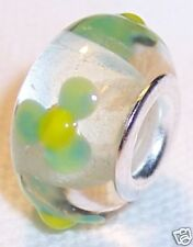 Clear Mint Green Flower Murano Glass Bead for Silver European Charm Bracelets
