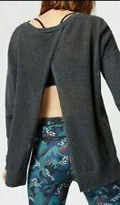 Sweaty Betty Charcoal Grey Amity Yoga Open Knit Top Jumper Medium