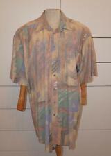 Vintage langarm Herren Hemd gemustert 90er Oldschool Retro - Hawaiihemd Resort M