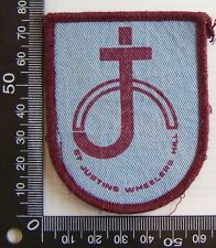 VINTAGE ST JUSTIN'S WHEELERS HILL EMBROIDERED PATCH WOVEN CLOTH SEW-ON BADGE