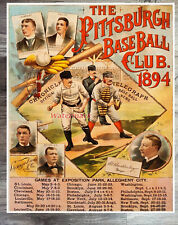MLB 1894 Pittsburgh Pirates Poster & Schedule Color 8 X 10 Reprint Photo Picture