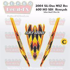2004 Ski-doo Rev MXZ600HO SDI Yellow Hood Panel Reproduction Vinyl Decal Set 3Pc