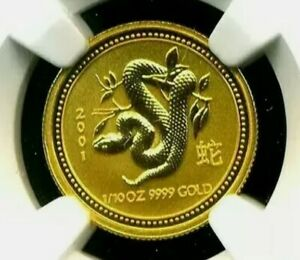 2001: Australian RAM - Lunar Year of the Snake, 9999%: NGC-MS70 - 1/10oz.