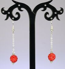 Red rhinestone bead dangle earrings, silver chain/hooks *Most Colours*