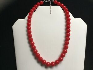 Women's Single Strand Short Red Bead Necklace