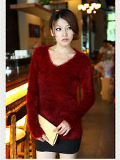 Women Casual Mohair Furry Long Sleeve Loose Flexible Knitted Pullover Sweaters
