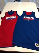 Game Worn Used Adidas Kansas Jayhawks Basketball Reversible Practice Jersey L