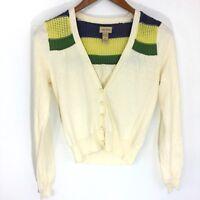 ella moss Off-White Cardigan Sweater Cotton Cashmere Blend Women's Size XS