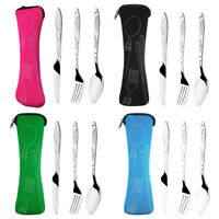 Knife Fork Spoon Camping Hiking Travel Cutlery Set with Bag Stainless Steel Tool