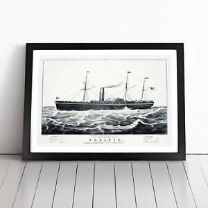 U.S. Mail Steam Ship Vintage N. Currier Framed Picture Print Home Décor Wall Art