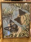 Fabulous Large Antique Vintage Framed Needlepoint Art Cat Reflection In Water