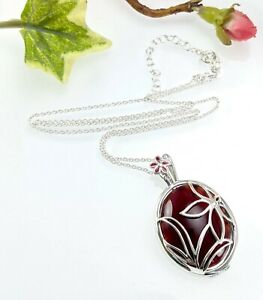 QVC Sterling Silver Carnelian Flower Cage Locket Pendant Necklace