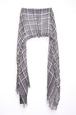 Long Tartan Charcoal White Casual Everyday Scarf (s35)