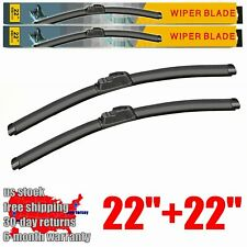 "22"" + 22"" Windshield Wiper Blades U/J hook Bracketless Frameless All Season 2 PC"