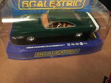 M/b Scalextric USA 1969 Dodge Cargador R/T Verde Ref C3064 rara Usa L/E