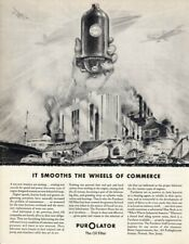 1936 Vintage print ad car part Perolator the Oil Filter Smooths Wheels Commerce