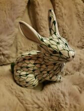 Vtg Andrea by Sadek Handpainted Fishnet Green Rabbit on White Porcelain 5.5�