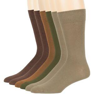 Men's Cotton 6 Pack Dress Socks L/XL Black Brown Khaki Navy Grey Beige Burgundy