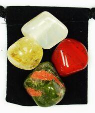 SPIRITUAL REBIRTH Tumbled Crystal Healing Set = 4 Stones + Pouch + Description