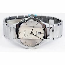 Mens Adajio Tungsten Stainless Steel Watch Round White Silver Face 7100MW