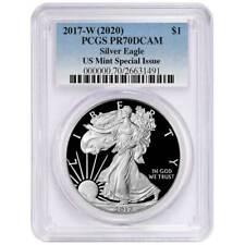 Pré-venda - 2017-W (2020) comprovante de $1 American Silver Eagle pcgs Pr 70 dcam nos Menta Sp