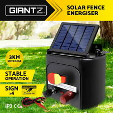 Giantz 3km Solar Electric Fence Energiser Energizer Charger 0.1J Farm Pet Animal