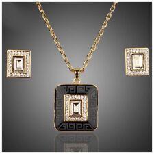 S23 Made Using Swarovski Crystals The Silaf Black & Gold Necklace Set $99
