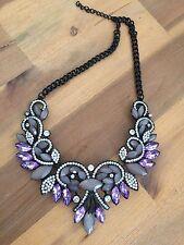 Stunning Elegant Zara Purple/Grey/Silver Flower Statement Necklace Wedding