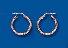 Rose Gold Hoop Earrings Rope twist Hoops Red gold hoop 18mm