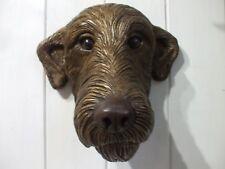 LARGE BRONZED STONE  IRISH WOLFHOUND DOGS HEAD WALL  SCULPTURE