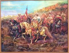 Antique Watercolor Listed Signed Ad Schreyer (1828-1899) Group of Arab Horsemen
