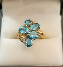14 K Yellow Gold Topaz Cluster Floral Ring Topaz