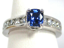 BLUE Sapphire Ring 18K white gold Channel VS2 Diamond CERTIFIED Heirloom $7,897