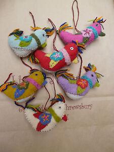 SALE Hanging Bird Decoration Home Gift Felt Fair Trade Multi Colour CLEARANCE