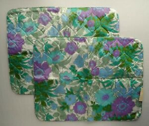 New VTG Polyester Quilted Floral Pillow Sham MCM 26x20 Case Retro 60s 70s Purple