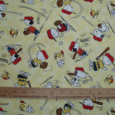 Cotton Fabric Peanuts All Stars Play Baseball Charlie Brown Lucy Snoopy Yellow
