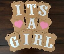 It's A Girl Baby Shower Party Bunting Banner Decoration Pink Hanging Garland