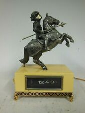 More details for vintage 1960's digital flip alarm clock with mounted knight (made in japan)