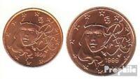 Frankreich F1 - 2 1999 Stgl./unzirkuliert 1999 Kursmünze 1 und 2 Cent