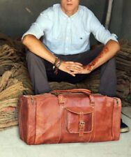 """New 24"""" Big Men Brown Vintage Leather Travel Luggage Duffle Gym Bags Tote Goat"""