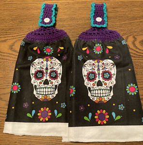 2 Double Sides Crocheted Top Skull Day Of The Dead Halloween Dish Hanging Towel