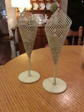 A PAIR OF UNUSUAL CREAM AND GOLD SHABBY CHIC CANDLE STICKS