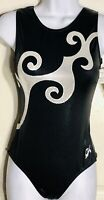 GK TANK ADULT MEDIUM BLACK WHITE SHIMMER GYMNASTICS DANCE LEOTARD Sz AM NWT!
