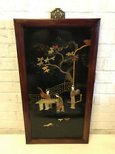 Antique Chinese Stone Inlaid Wood Panel Women Musical Instrument Tree Decoration
